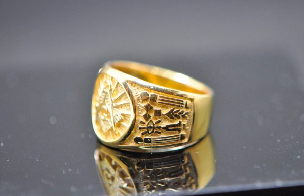Masonic Ring 925 Sterling Silver MASTER MASON Square and Compasses Illuminati Masonic Symbols G letter Sacred Symbols With 22K Gold Plating