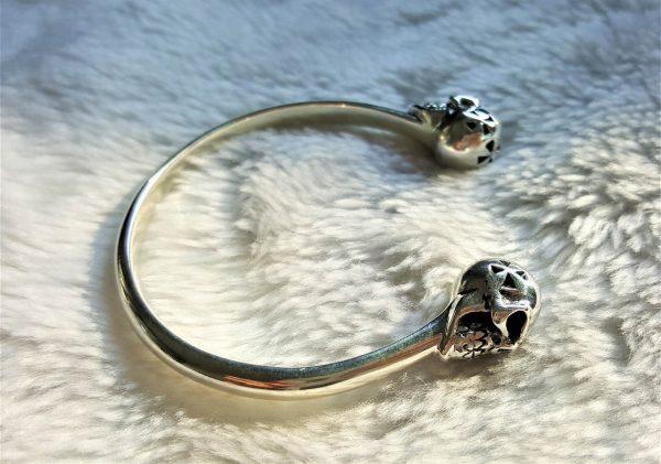 Eliz STERLING SILVER 925 Skull Bracelet Rock Punk Goth Biker Exclusive Design Size Adjustable