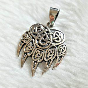 Eliz Sterling Silver 925 Bear Paw Pendant Viking Bear Paw Claw Slavic Warding Veles Talisman  Sacred Symbol Amulet