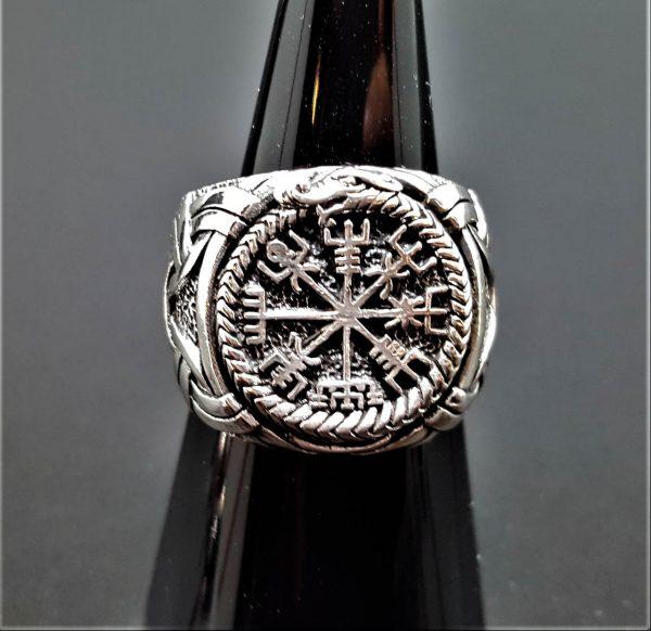 925 Sterling Silver Ring Ouroboros Vegvisir Runic Compass Runes Icelandic Magical Stave Aegishjalmur Vegvisir Talisman Amulet Norse Viking