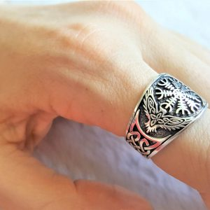 925 Sterling Silver Ring  Runic Compass Runes Aegishjalmur Vegvisir Pagan Symbol of Guidance  Protection Celtic Knot Norse Viking