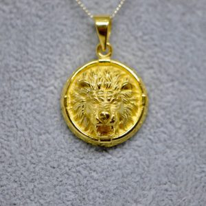 Lion 925 STERLING SILVER Pendant LION Head Royal Leo King Exclusive Gift Talisman Amulet Symbol of Power With 22K Gold Plating