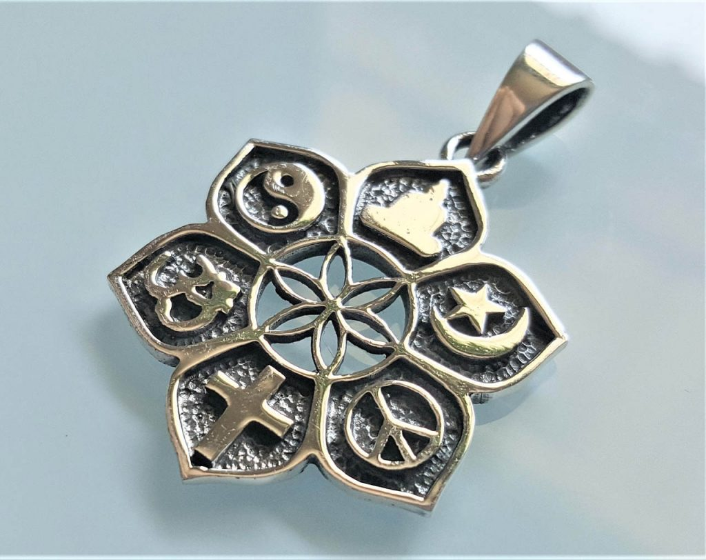 Details about  /925 Fine Silver Ohm Design Pendant High Quality Religious Jewelry 26mm Long