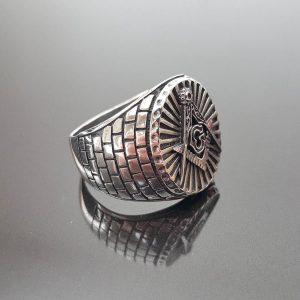 Eliz 925 Sterling Silver MASTER MASON Ring Illuminati Masonic Bricks G letter Sacred Symbols