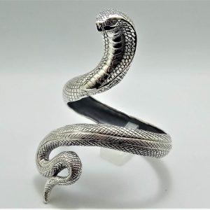 Cobra Snake STERLING SILVER 925 Bracelet Cuff Cleopatra Jewelry Arm Bracelet Talisman Amulet Good Luck Heavy 48 grams Adjustable
