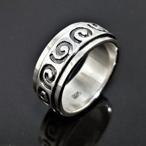 925 Sterling Silver Spinner Band Ring Swirl Ornament Anti Stress Fidget Meditation Kinetic Kundalini Swirl Talisman Amulet