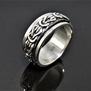 925 Sterling Silver Knot Spinner Band Ring Infinity Knot Anti Stress Fidget Meditation Kinetic Symbol of Infinite Love Talisman Amulet