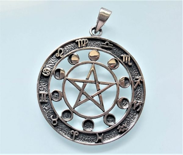 Moon Phases Pentagram STERLING SILVER 925 Pendant Star Energy Balance Zodiac Signs Astrology Sacred Symbols Talisman Amulet