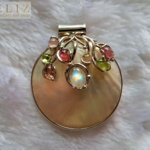 Eliz 925 Sterling Silver Genuine Tourmaline & Moon Stone Mother of Pearl PENDANT Natural Gemstones Talisman Amulet Exclusive Gift