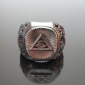 Eliz Sterling Silver . 925 Ring Masonic Symbols All Seeing Eye Pyramid Fleur De Lis Talisman Amulet Sacred Symbol