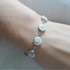 Eliz Sterling Silver 925 Shiva Eye Shell Bracelet Natural White Seashell Handmand Bracelet Excluisve Gift 7.5 inches Kundalini Energy