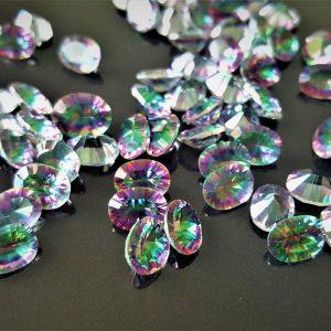 Eliz 10 pcs LOT Loose Mystic Topaz Genuine Gemstones Calibrated Multi Color 6x8 mm OVAL Concave Cut Stone Faceted