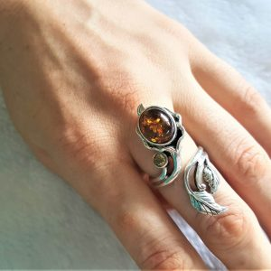 925 Sterling Silver FLower Genuine Amber & Citrine Unique Bouquet Adjustable Ring