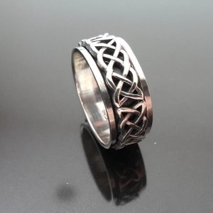 Eliz Celtic VIKING Infinity Knot Spinner .925 Sterling Silver Ring Anti Stress Band Fidget Meditation Kinetic Ring