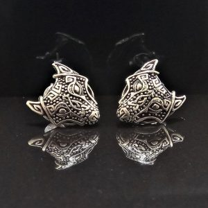 STERLING SILVER 925 Fenrir Wolf Stud Earrings Viking Talisman Protective Celtic Amulet Sacred Symbol