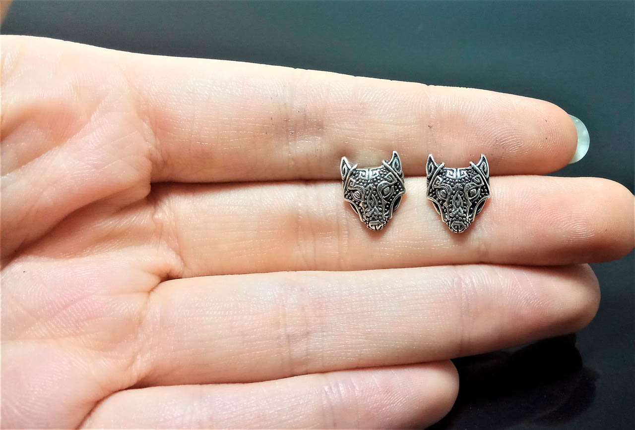 Silver Panther Stud Earrings