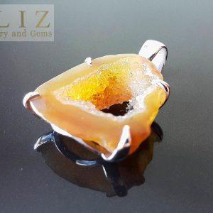 Natural Druzy Quartz Geode Sterling Silver 925 Pendant Handmade