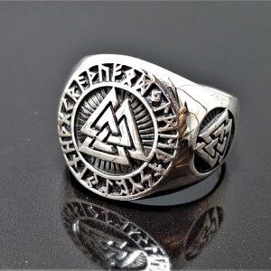 925 Sterling Silver Valknut Ring Sacred Runes Viking Norse Interlocked Triangles Spiritual Talisman Amulet