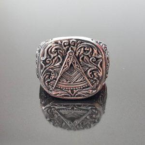 MASON Ring 925 Sterling Silver Illuminati Masonic Sacred Symbols Compass Eagle Freemason Talisman Amulet
