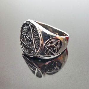 Eliz STERLING SILVER 925 Ring Masonic Symbols All Seeing Eye Pyramid Celtic Knot Talisman Amulet Sacred Symbol