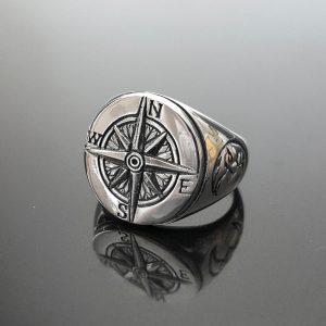 Compass Ring Sterling Silver Nautical Sun Dial Compass Crescent Moon punk goth biker rocker Ring