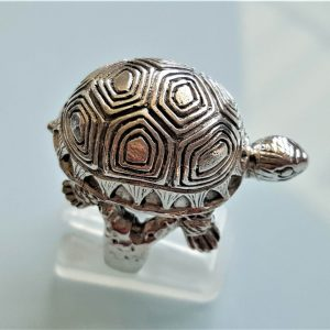 STERLING SILVER 925 Turtle Ring Sea Turtle Ocean Animal Good Luck Gift Totem Animal Talisman Amulet Heavy 16 grams