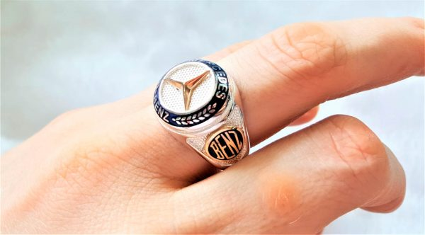 Eliz 925 Sterling Silver MERCEDES Benz Car Men's Ring Exclusive Design Perfect Gift for him