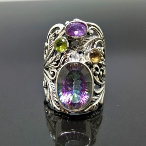 Sterling Silver 925 Mystic Quartz Natural Gemstone Amethyst Peridot Citrine Mysterious Gem Sizable Ring