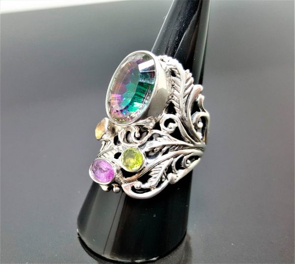 Sterling Silver 925 Mystic Quartz Natural Gemstone Amethyst Peridot Citrine Mysterious Gem Sizable Ring