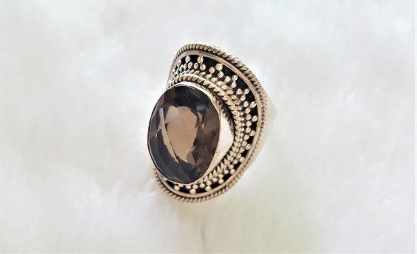 925 Sterling Silver Ring Genuine Smoky Quartz Gemstone Faceted Natural Gem