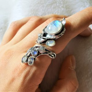 925 Sterling Silver Genuine Moonstone Gemstone Unique bouquet Adjustable Flower Ring
