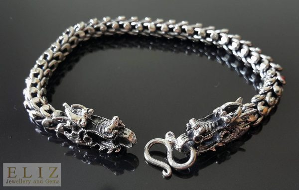Eliz 925 Sterling Silver DRAGON Clasp Armor Scaled Chain Bracelet 9 inches Heavy 52 grams