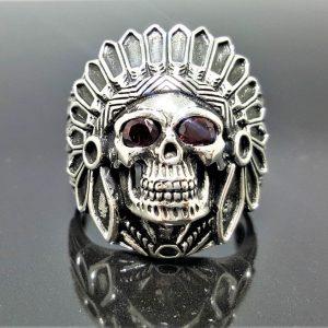 American Indian Skull Tribal Chief Warrior Sterling Silver 925 Ring Natural GARNET Eyes Gemstone Amulet Talisman American Indian 15.7 grams