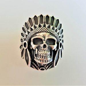 American Indian Skull Chief Warrior Sterling Silver 925 Ring Spirit Amulet Talisman Handmade American Indian 15.4 grams