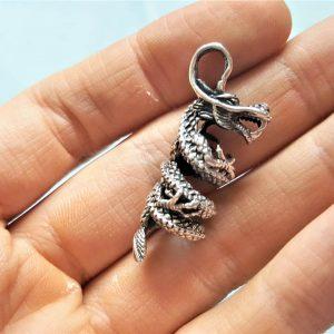 Eliz 925 Sterling Silver Dragon Tornado Swirled Pendant Charm Ancient Sacred Symbol Good Luck Talisman Amulet