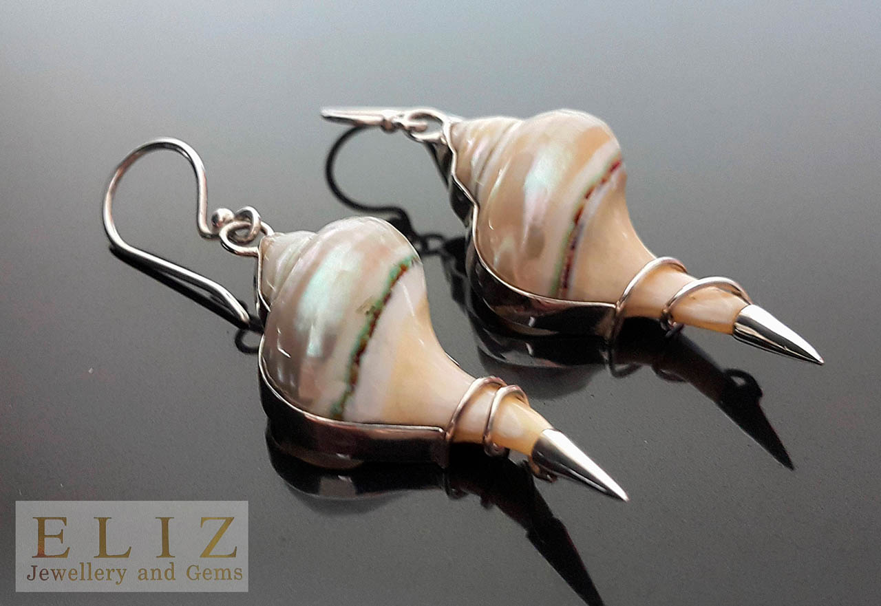 Eliz Sterling Silver Earrings Natural Ocean Shell Swirl gift