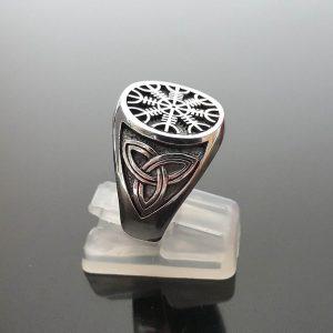 925 Sterling Silver Ring Helm of Awe Runic Compass Aegishjalmur Pagan Sacred Icelandic Magical Stave Talisman Amulet Norse Viking ELIZ