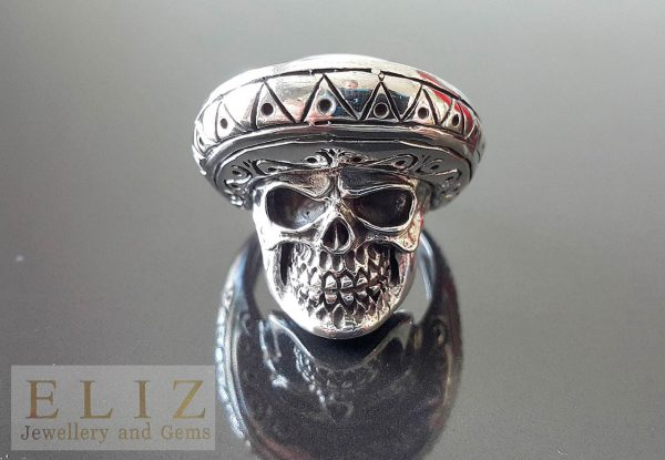 Mexican Sombrero Skull .925 Sterling Silver Goth Punk Rock Biker Ring 25 grams
