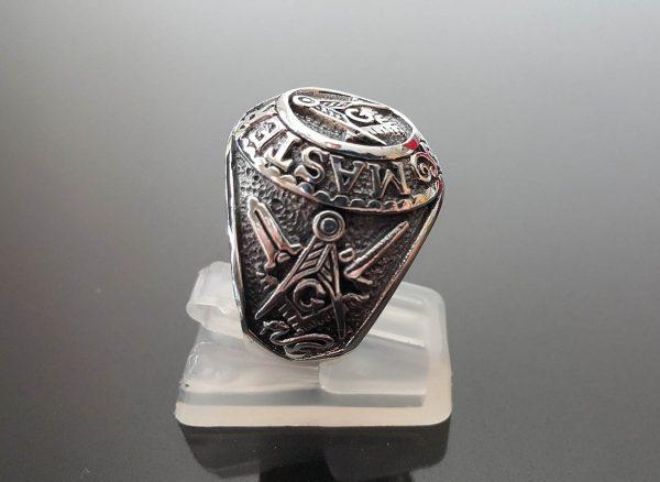 Eliz 925 Sterling Silver MASTER MASON Ring Illuminati Masonic Sacred Symbols G Letter Geometry Mason Symbol Amulet Talisman