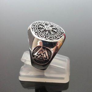 925. Sterling Silver Ring Valknut Helm of Awe Triangles Pagan Viking Sacred Symbols Talisman Amulet