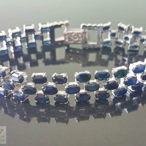 Genuine Sapphire STERLING SILVER 925 Perfect Quality Precious Gemstones Bracelet Exclusive Gift 7.5 inches