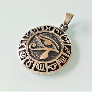 Eliz 925 Sterling Silver Pendant Eye of Horus Ancient Egyptian Talisman Horoscope Zodiac Astrology Egyptian Symbol of Protection Royal Power