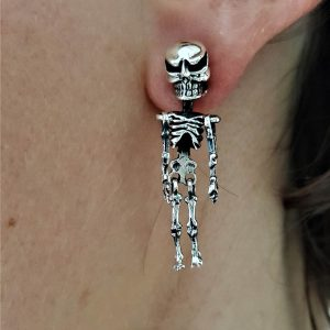 Eliz 925 Sterling Silver Skeleton Earrings Stud Skull Punk Goth Rock Biker Exclusive Design