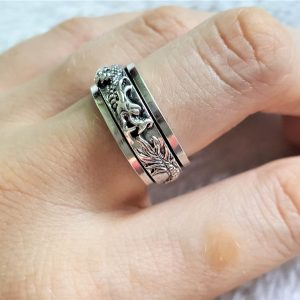 Ouroboros Spinner Ring STERLING SILVER 925 Chinese DRAGON eating tail Unisex Harmony Anti Stress Fidget Meditation Kinetic