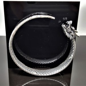 STERLING SILVER 925 Ouroboros Bracelet Dragon eating Tail Ancient Symbol Talisman Amulet Good Luck 40 grams