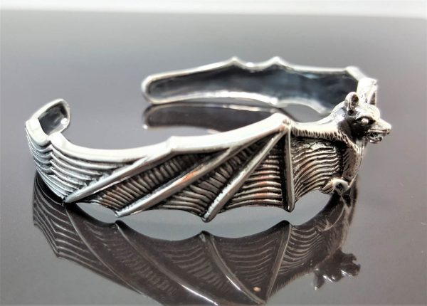 Bat 925 Sterling Silver Bracelet Cuff Vampire Goth Rock Biker Exclusive Design Adjustable 28 Grams