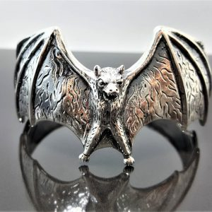 Bat 925 Sterling Silver Bracelet Cuff Vampire Goth Rock Biker Exclusive Design Adjustable 55 Grams