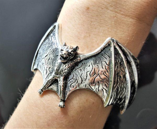 Bat 925 Sterling Silver Bracelet Cuff Vampire Goth Rock Biker Exclusive Design Adjustable 55 Grams