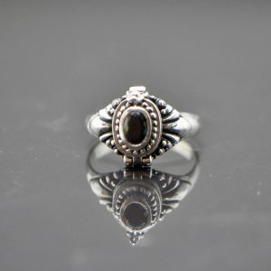 Locket Ring 925 Sterling Silver Black Cubic Zirconia Poison Cleopatra Secret Compartment