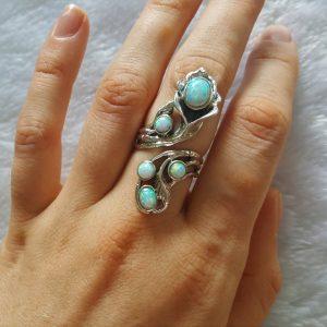 925 Sterling Silver FLower Precious OPAL Flower Unique Bouquet Adjustable Ring